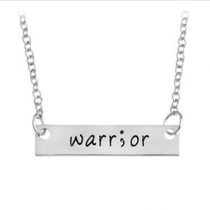 Jewelry - Semicolon warrior sideways  bar necklace